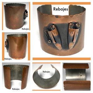 Mid Century Rebajes Ethnic Mask Copper Bracelet